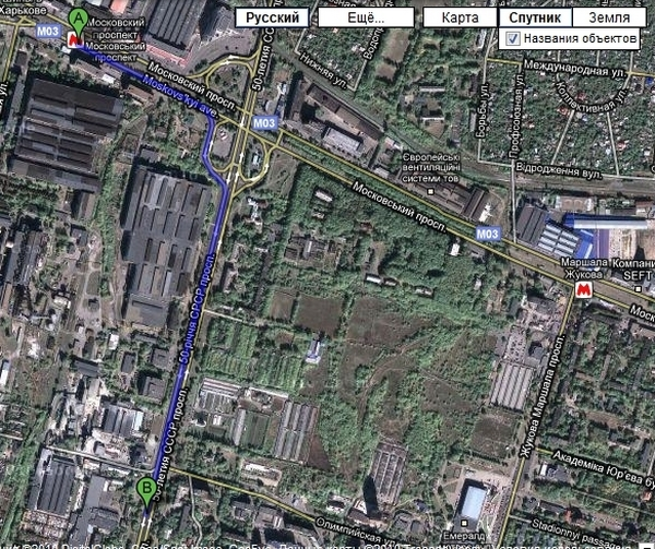 Карта проезда к харьковской