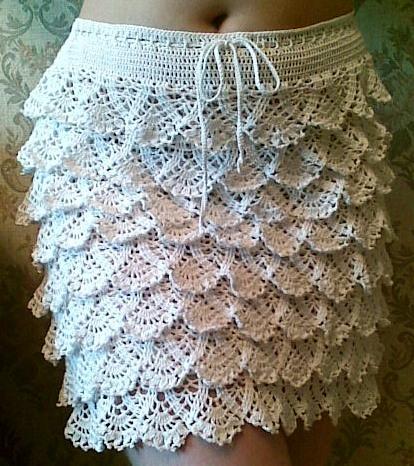 Вязаная юбка с ажурными