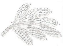 Схема вязания крупного ажурного листочка крючком на бурдоне